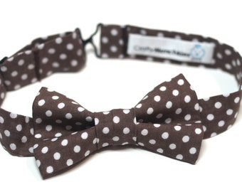 Bow Tie - Brown with White Polka Dots Bowtie
