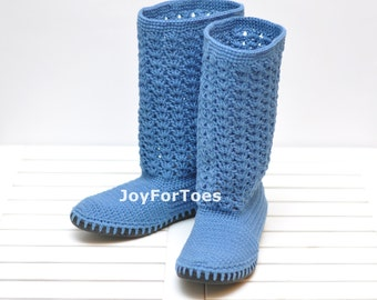 Jeans Crochet Boots Shoes for the Street Woman Boho Style Made to Order Lace Boots