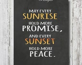 """Lustre Chalkboard Art Print Digital Chalk Textured """"Sunrise and Sunset """" quote PORTRAIT 8X10 16X20 with Foamcore and Standout Mount Options"""