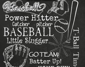 15 Chalk Overlays (TRUE overlay) Shaded PNG Baseball T-ball Digital Graphic Elements + 12X12 Chalkboard (Jpg) Scrapbooking Photography Cards