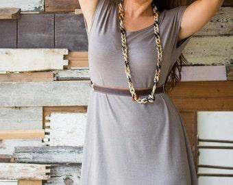 Short Sleeve Tunic Dress, Grey Tunic, A line Tunic, Womens Tunic Top, Loose Tunic, Summer Dress, Casual Wear, Womens Tops