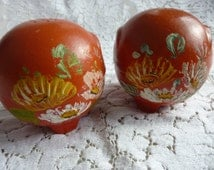 Ransburg Salt and Pepper Shakers Orange Round Ceramic Shakers Painted Floral Design 1940s