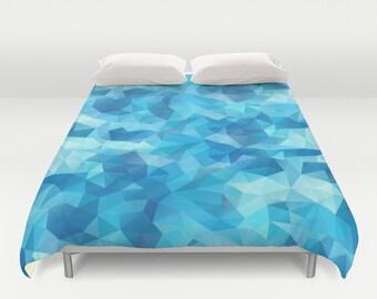 Duvet, Duvet Cover, King Size, Bed cover, King Duvet, Queen Duvet, Art Duvet, Art, Triangle, Blue, Turquoise, Polygon, Geometric, Pattern
