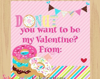 Instant Download: DIY Printable Favor Tags- Donut Valentines Day Tags -Gift Tags -Square Thank You Tags -School Treats -Holiday
