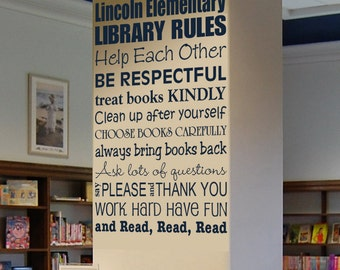 Library Rules Monogram Wall Word Decal
