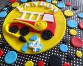 Fondant fire truck, fondant cake topper, fire truck cake topper, fondant polka dots, fondant cake and cupcake toppers, fireman