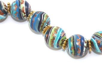 6 Ombre beads for Jewelry making, Polymer Clay round beads with stripes in blues, green and bronze, elegant gradient beads, millefiori beads