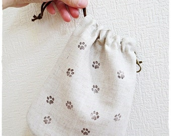 Dog treat pouch or dog walking drawstring pouch hand stamped