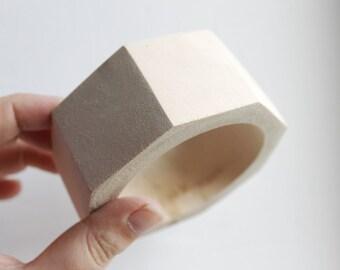 40 mm Wooden bracelet unfinished round octahedral - natural eco friendly OKT40