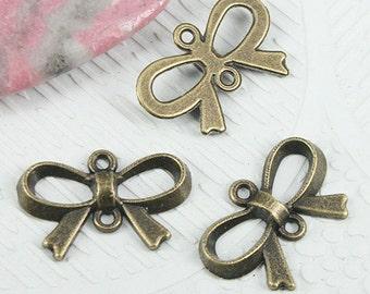 40pcs antiqued bronze color 21.5mm long ribbon bow connector EF0875