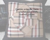 2 tartan patchwork pillows 16 inch square