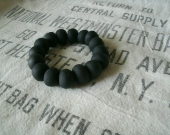 Black Handcrafted Polymer Clay Beaded Bracelet
