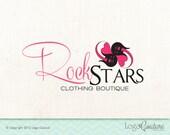 Premade Clothing Boutique Logo - Custom Logo - Rock Stars Clothing Boutique - Guitars with Hearts - Logo for a Clothing Store