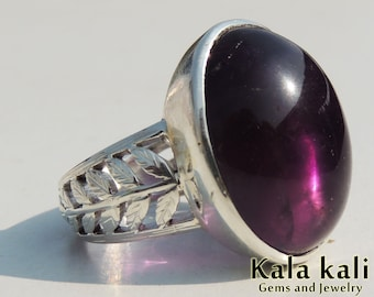 Mens Amethyst Silver Ring Hand Engraved Filigree Ring size 8 3/4 US