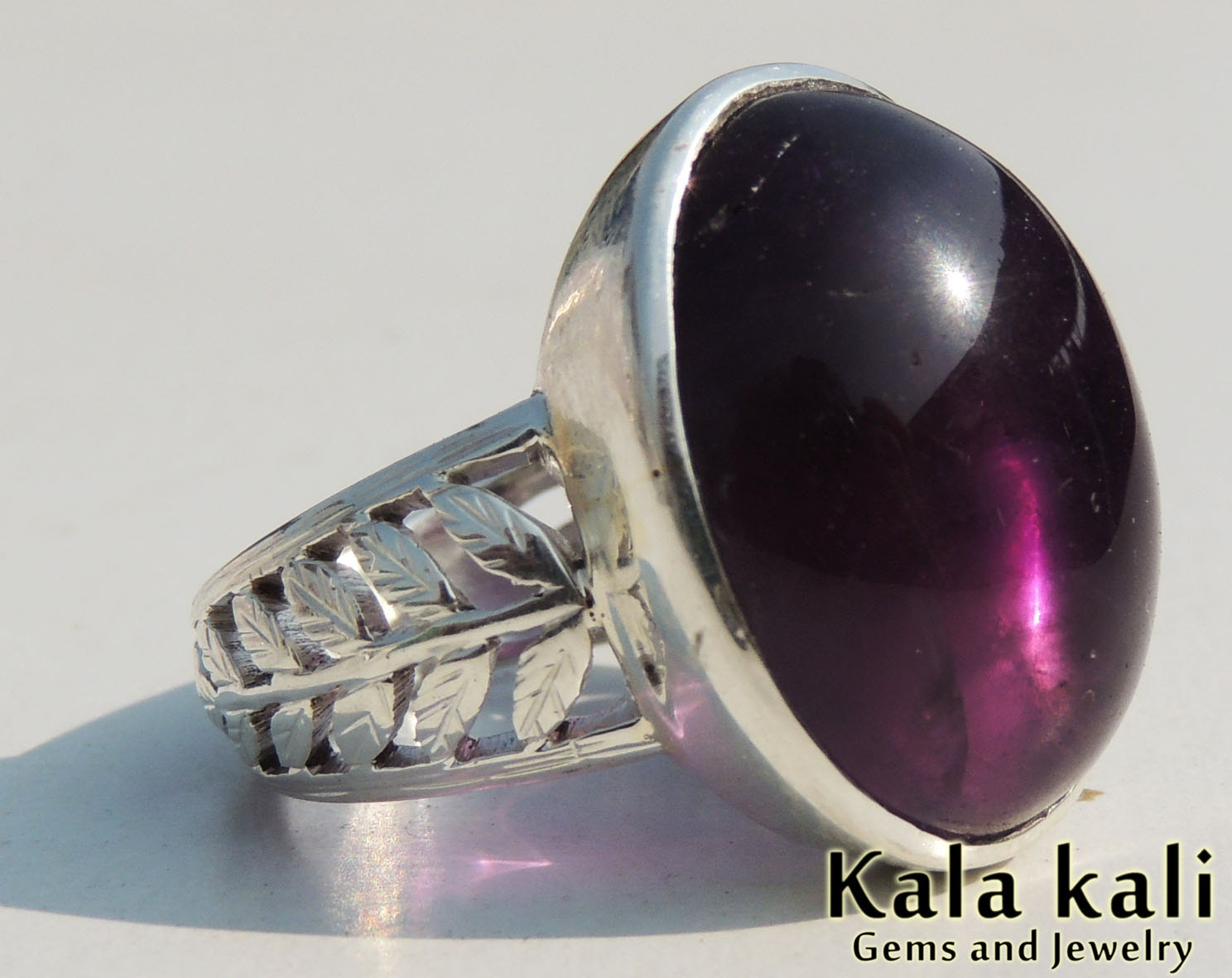mens amethyst silver ring engraved filigree ring by