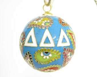 Tri Delta Psychedelic Paisley Cloisonne Ornament with 24k gold plating