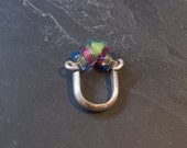 SIlver and Venetian Glass  Ring, Green Pink and Blue Cocktail Ring