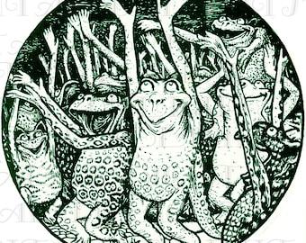 A Strange FROG Gathering. VINTAGE Frog Illustration. Vintage Storybook. Digital Download. Digital Frog PRINT.