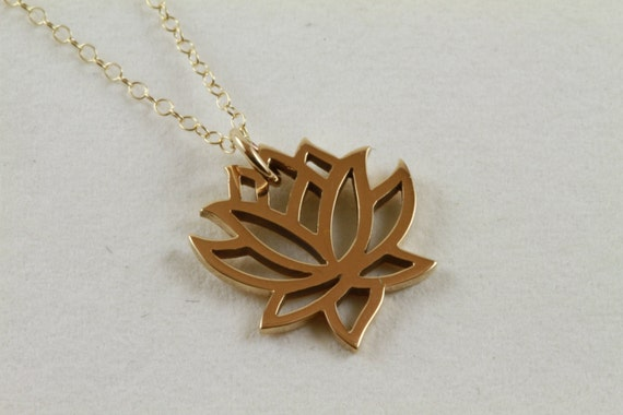 Tiny Lotus Flower Pendant, 14K Gold Fill Necklace, Spiritual Jewelry, Layering Necklace, Lotus Charm, Yoga Jewelry, Everyday Necklace