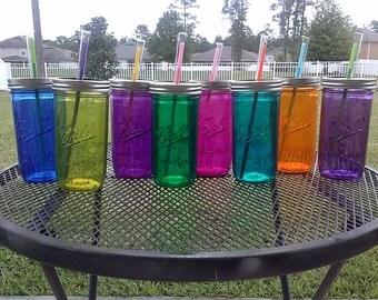 Ball MASON JAR Sippy Tumbler - Glass - - Choose your Color - 24 oz Tumbler - Weddings - Bachelorette Party - Baby Showers - Mason Jar Gift