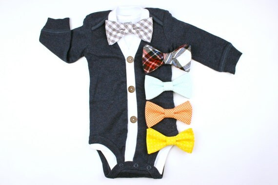 Navy Cardigan and Bow Tie Set - Grey Gingham or You Pick - cardigan onesies