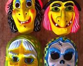 Set of 4 Vintage Neon coloured Halloween masks