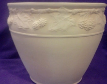Ceramic Berries and Leaf Planter ready to paint glazed inside
