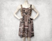 Medieval screenprinted Cotton Dress - Hand coloured