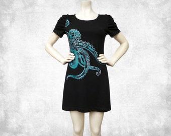 Octopus Tentacles Blue Cotton T-shirt Dress