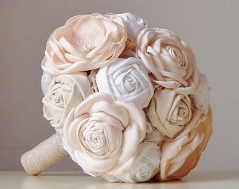 Fabric Wedding Bouquet,  Vintage Bridal Bouquet,  Champagne Roses,  Vintage Wedding
