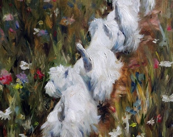 "PRINT White Westie West Highland Terrier Dog Puppy  Spring flowers wildflower / Mary Sparrow ""Follow the Leader"""