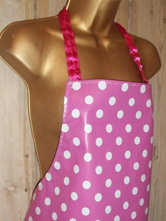 handmade pink polka dot oilcloth pvc apron adult. Black Bedroom Furniture Sets. Home Design Ideas