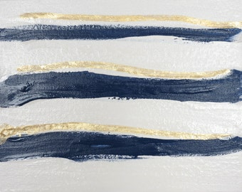 "Art Original Abstract Painting ""Mod Undercurrent II"" Navy, White, Gold Painting on Canvas"
