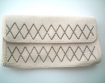 Deco Beaded Evening Clutch Purse Bag Glass Pearls & Silver Bugle Beads