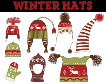 Christmas Knit Hat Clip Art // Crochet Hat // Winter Hat // Commerical Use Clipart // Snow Hat Clipart // Hat