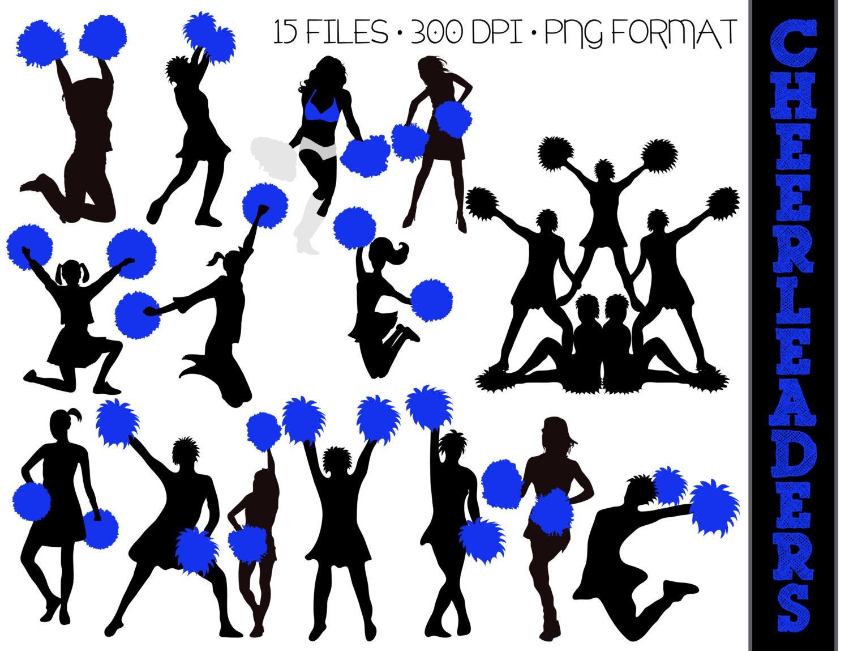 15 Cheerleader Silhouettes // Royal Blue Cheer Silhouette //