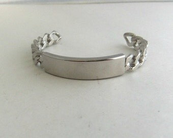 Chain Link ID Cuff Bracelet by JB Silver Tone