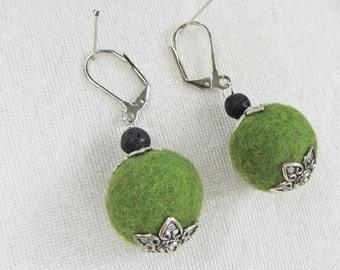 Filz Ohrschmuck Filzohrringe mit Lava Ohrringe mit Filzperlen 100% Wolle, Wunschfarbe, Größe ca. 16-18 mm, Lava schwarz, ca. 6mm, Metall