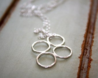 Four Silver Circle Necklace