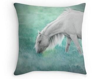 Equine home decor, horse photo pillow, horse pillow cover, horse cushion, white horse, green, mint, aqua, teal