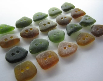 GENUINE SEA GLASS 16mm Buttons 20 Olive Green Amber Real Surf Tumbled Natural Greek Beach Seaglass Sewing Knitting Button Beads  But 93e