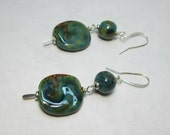 Teal Brown Swirl Artisan Ceramic Kazuri Bead African Fair Trade Dangle Earrings