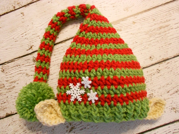 Items similar to Crochet Christmas Elf Hat With Ears ...