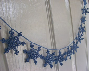 Crochet snowflake garland, Christmas home decor, blue snowflake, crochet snowflakes, free UK shipping