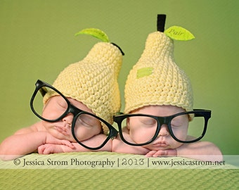 PERFECT PAIR newborn set- Hats ONLY- two hats for newborn twins, crochet pear hats, photography prop