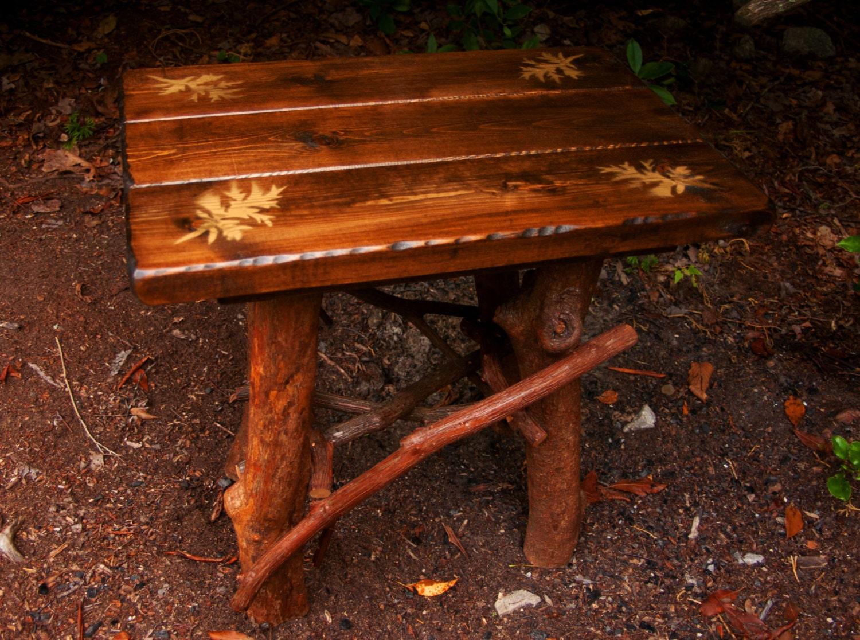 Rustic Handmade End Table Log Cabin Adirondack Art Furniture