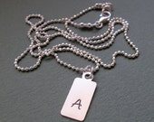 Initial Mens Necklace. ID Pendant for Men. Personalized Mens Gift. Sterling Silver Necklace with Tag. Custom Mens Jewelry
