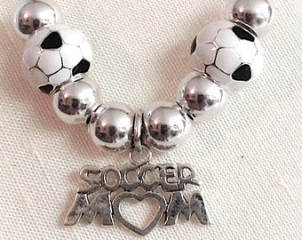Soccer Mom Necklace, Soccer Mom charm, Soccer Bead Necklace, Soccer Bead, Sterling Silver Soccer Mom Charm