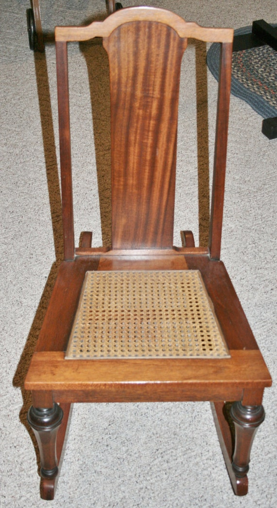 Vintage Armless Sewing Nursing Rocker Wood with cane seat Rocking ...
