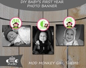 Baby's First Year Birthday Banner - 0-12 Months Mod Monkey Girl Photo Banner/Holder - Instant Digital PDF Download